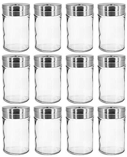 My-goodbuy24 Gewürzstreuer -12er Set - Salzstreuer Pfefferstreuer aus Glas & Edelstahl mit Dreh-Deckel Vorratsglas Gewürzdose Dose Streudose - transparentes