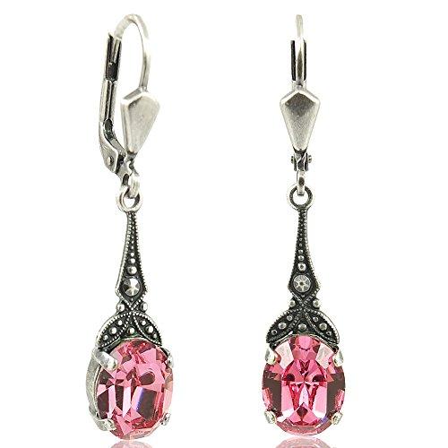 Jugendstil Ohrringe mit Kristallen von Swarovski® Silber Rosa NOBEL SCHMUCK