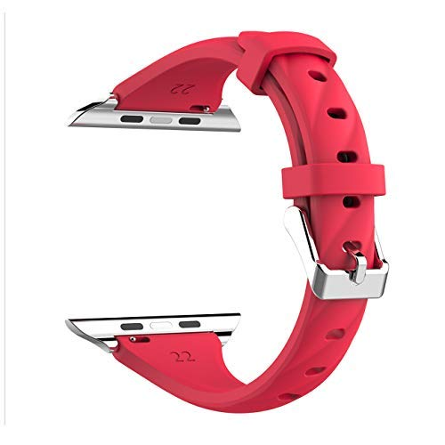 Kppto Cinturino di Ricambio Per Apple Watch da 42/44mm, Cinturino iWatch Sottile in Silicone da Donna per Serie di Apple Watch Serie4 3 2 1 Taglia S/M M/L (42/44mm, Rosso B)