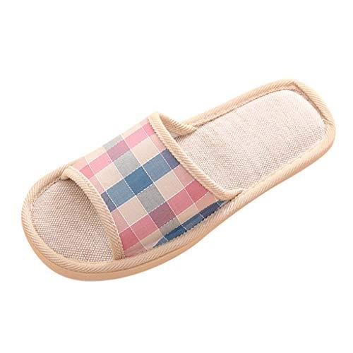 AmyGline Hausschuhe Damen Herren Pantoffeln Winter Leinen Karierte Paar Hausschuhe Hause Boden Drinnen rutschfeste Slippers Flache Schuhe Schlappen