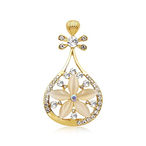Bleyoum Brooch Chinese Lute Crystal and Opal Stone Brooch Pins for Women