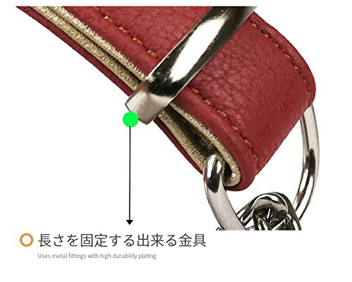 beanspet犬ハーフチョーク2層革首輪犬首輪革おしゃれかわいい大型犬犬の首輪いぬくびわレザー犬用品(Mサイズ,レッド)