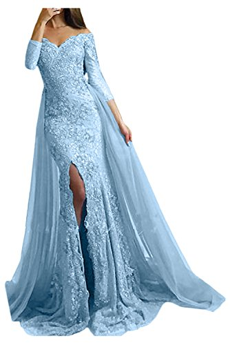 Victory Bridal Damen Fashion Etui Mermaid Abendkleider Lang Spitze Ballkleider Fest Hochzeitskleider mit Schleppe-44 Hellblau