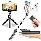 FASHLOVE - Trípode para selfies Bluetooth con luz de relleno, rotación de 360°, plegable, extensible y con mando a distancia inalámbrico desmontable, compatible con iPhone/Samsung/Huawei y más (Black)