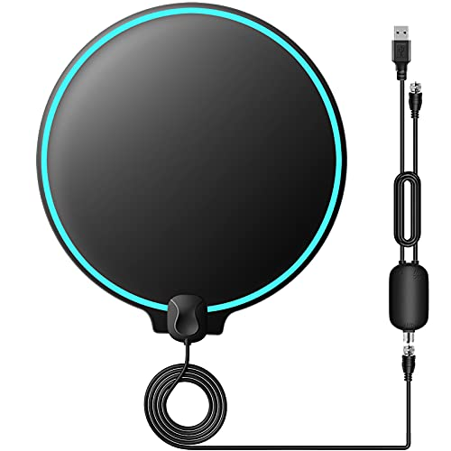 TV Antenna - Amplified HD Indoor Digital TV Antenna 200 Miles Range Support 4K 1080p All Television, HDTV Antenna for Local Channels VHF UHF Singal Booster Award 2020 Patented Round Shape