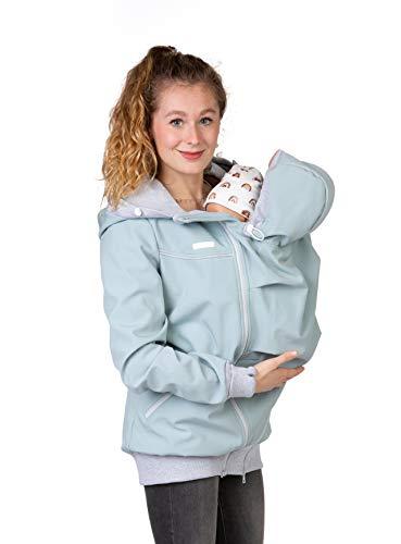 Viva la Mama - 4in1 Allwetter Tragejacke für Vorn- und Rückentragen Umstandsjacke Softshell - AVENTURIS - eisblau - S