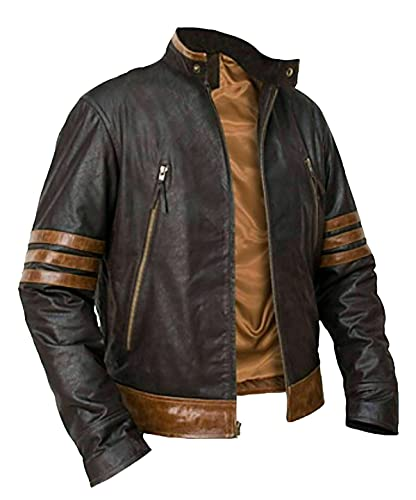 HiFacon X Origins - Chaqueta de piel para hombre, color marrón