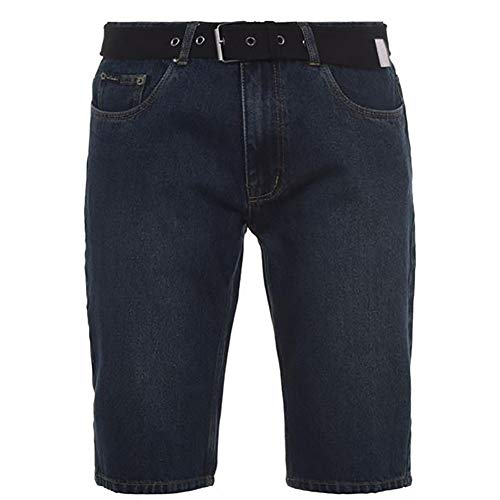 Pierre Cardin Herren 100% Baumwolle Denim Knielange Shorts mit Canvas gewebt (Large, Dark Wash)