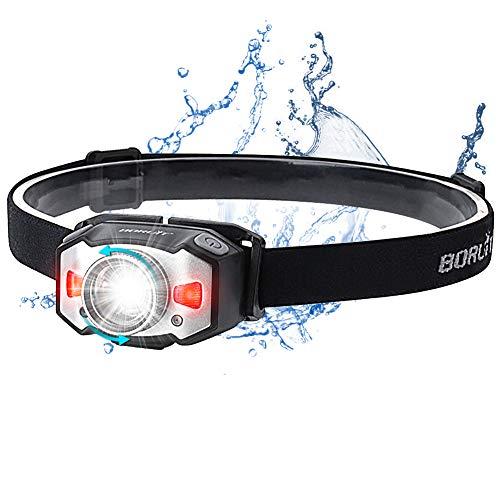 Stirnlampe LED Wiederaufladbar USB Kopflampe Stirnlampe Zoombar Wasserdicht Verstellbar Mini Stirnlampen mit Rotlicht und Intelligenter Geste Sensor für Joggen, Laufen, Campen, Radfahren,Angeln,Kinder