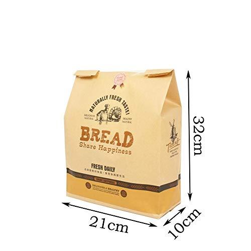 Kraftpapiertüte 50 Stück Kraftpapier Brot Klar Vermeiden Sie Ölverpackung Toast Fensterbeutel Backen Essen Zum Mitnehmen Lebensmittelpaket Kuchenbeutel Party Kraft 21X10X32Cm