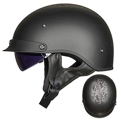 ABDOMINAL WHEEL Helme Oldtimer Motorradhelm mit Brille,Motorrad Jet Half Helm,für Cruiser Chopper Biker,ECE Zertifizierung