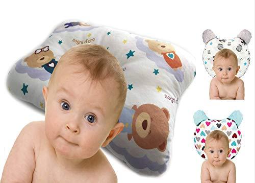 RS-Italy - Cojín de bebé Plagiocefalia antireflujo antiasfixia transpirable e hipoalergénico, utilizable de 0 a 24 meses, cojín de prevención de cabeza plana