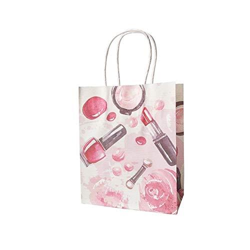 Piore 100st veel cosmetisch patroon afdrukken papieren zakken met handvat geschenkzakken Gunst bruiloft verpakking opbergzakken, nagellak