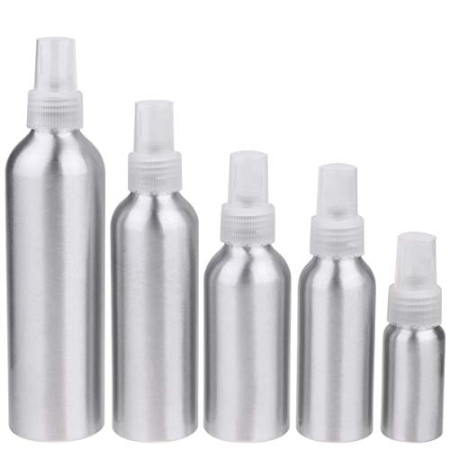 Milisten 5 Stück Aluminium Sprühflasche Leer Nachfüllbar Zerstäuber 30ML 100ML 120ML 150ML 250ML Kosmetikflasche Make Up Kosmetik Wasser Reinigungsmittel Reisebehälter Transparent Pump
