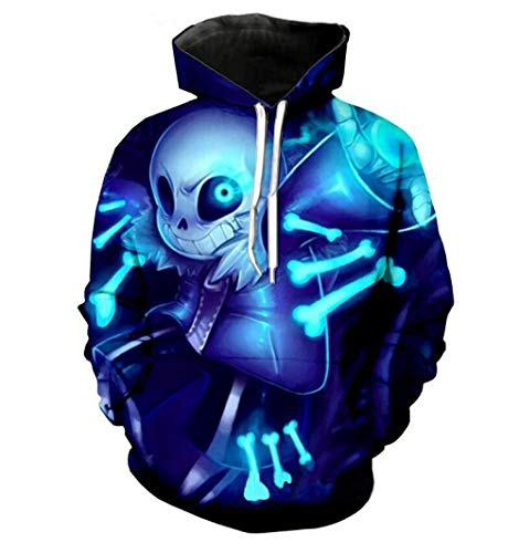 LFNBOOSE Hoodie New Undertale Hoodies Sans Pattern 3D Printing Fashion Men Women Hoodies Sweatshirts Tops@Blue_S