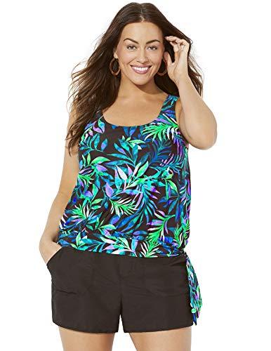 Swimsuits for All Women's Plus Size Wildwood Side Tie Blouson Cargo Shortini 24 Multi