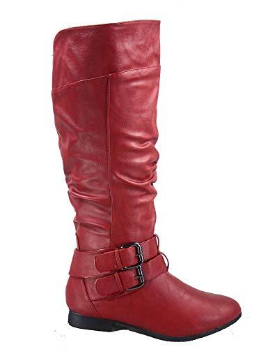 Top Moda Coco-20 Women's Fashion Round Toe Low Heel Knee High Zipper Riding Boot Shoes (6.5 B(M) US, Red)
