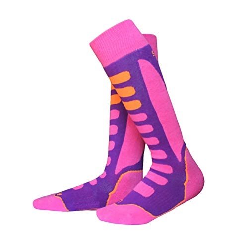 LIOOBO Chaussettes Coton épais Sports Snowboard Cyclisme Ski Chaussettes de Football Hommes Femmes Absorption de l'humidité Chaussettes élastiques (Rose, 31-34)