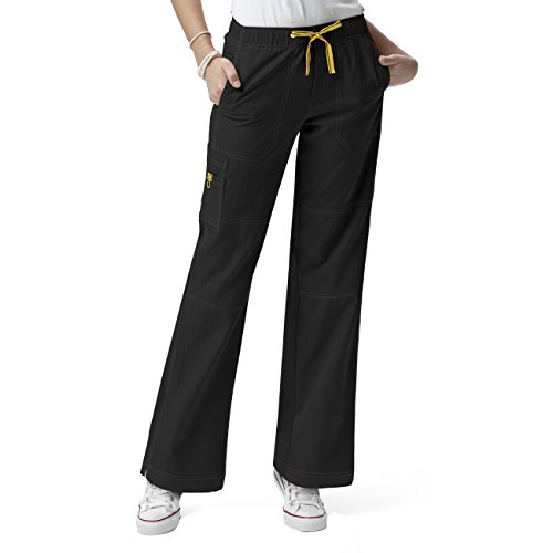 WonderWink womens Four-Stretch Sporty Cargo Pant, Black, Large/Petite
