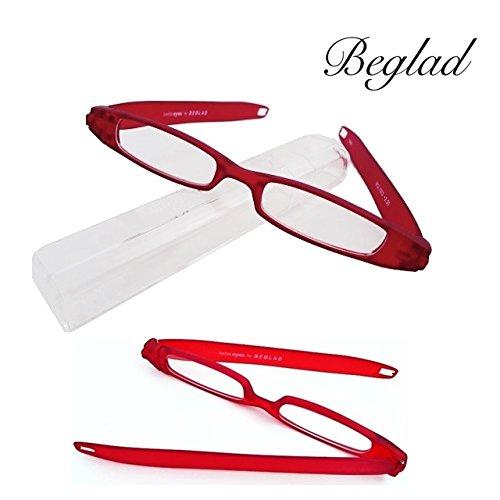BEGLAD(ビグラッド)おしゃれな折りたたみ老眼鏡 BGL1003レッド スタイリッシュな携帯用折り畳み式 ペンタイプ シニアグラス