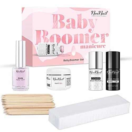 NEONAIL Baby Boomer Set mit Hard Top Klassischer weißer und rosa Stil