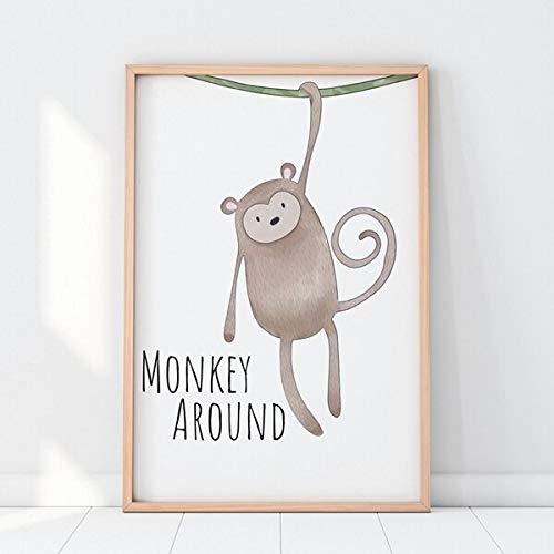Geiqianjiumai Versteckspiel Katze Safari Tier Nordic Poster drucken neutrale Kinderzimmer Dekoration inspirierend Zitat Leinwand Malerei rahmenlose Malerei 60x80cm