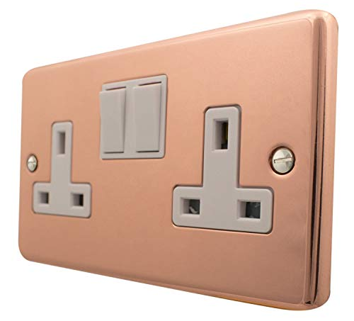 G&H CBC10W Standard Plate Bright Copper 2 Gang Double 13A Switched Plug Socket