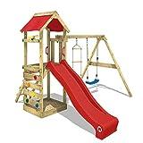 WICKEY Aire de jeux FreeFlyer Portique de jeux en bois Cabane pour enfants avec balançoire, toboggan rouge, mur d'escalade, échelle de cordes, bac à sable + Accessoires