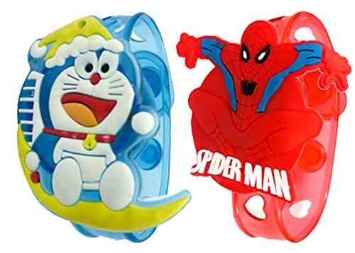 Evisha 2 Pcs Cartoon Character Kids Children LED Light Rakhi Wristband Doraemon And Spider Man Assorted Colour
