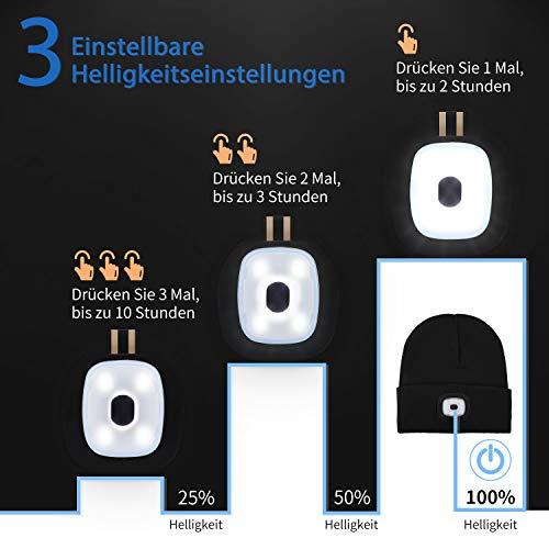 Deilin LED Mütze mit Licht, Beleuchtete Mütze Aufladbar USB für Männer und Frauen, Einstellbare Helligkeit Stirnlampe Winter Beanie Mütze mit Licht, Unisex Winter Wärmer Strickmütze mit Licht - 2