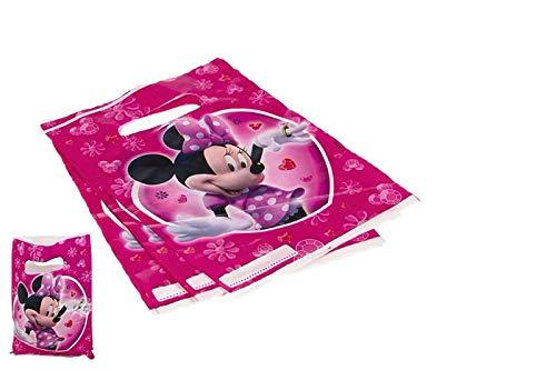 ALMACENESADAN 2365; Confezione da 6 Sacchetti Disney Minnie Mouse; Ideale per Feste e Compleanni; Borse per Jellybeans o Regali; Prodotto di plastica; Dimensioni 22x16 cm