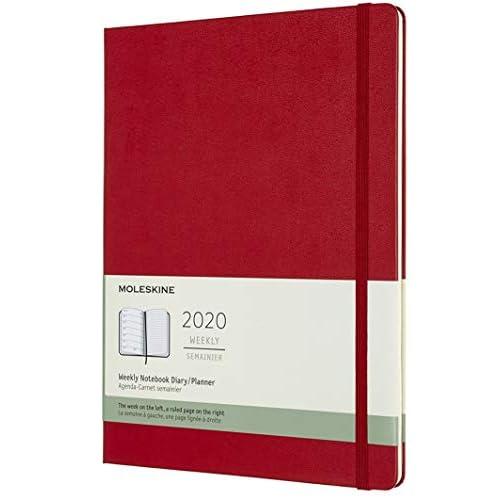 Moleskine 12 Mesi 2020 Agenda Settimanale, Copertina Rigida e Chiusura ad Elastico, Colore Rosso Scarlatto, Dimensione Extra Large 19 x 25 cm, 144 Pagine