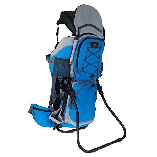 DROMADER Mochila Portabebé para Hacer Turismo Kangoo | Peso del Bebé hasta 22 kg | Asiento Cómodo Ajustable | Sistema de Transporte 3D Opti-fit | Bolsillos Prácticos | Parasol | Azul & Gris
