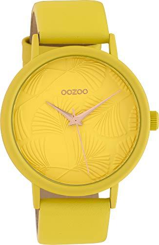 Oozoo Damenuhr mit Lederband 42 MM Colours of Oozoo Ginkgoblatt Zifferblatt Unicolor Gelb C10395