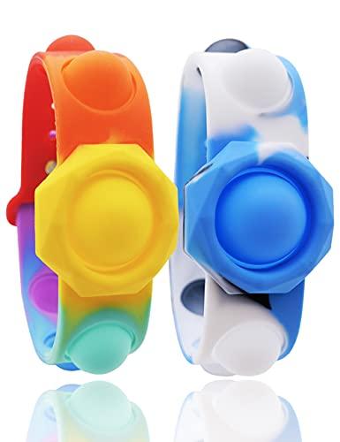 Stress Relief Wristband Fidget Toys 2 Pcs Wearable Push Pop Bubble Sensory Fidget Hand Finger Press Silicone Bracelet Toy for Kids Anxiety Autism Portable Simple Dimple Sensory Fidget Bracelet