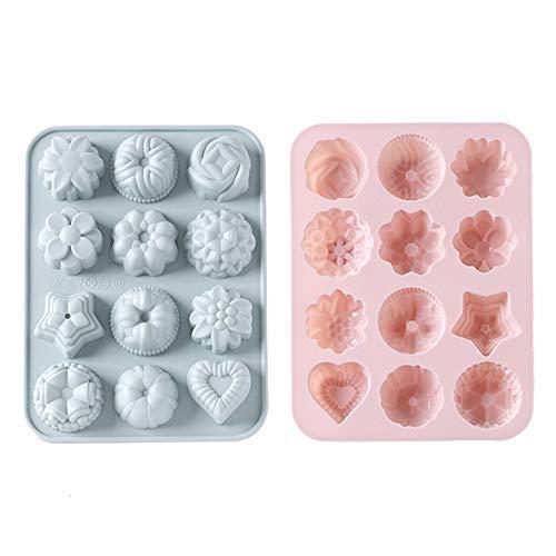 jiyuan 2 pièces Moule en Silicone, 12 Cavités de Moules en Silicone pour la Cuisson de Gâteaux, Chocolat, Biscuit, Glaçons, Savon Artisanal Bricolage (Rose, Gris-Bleu)