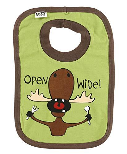 Lazy One Garçon Open Wide Moose Vert Baby Bavoir
