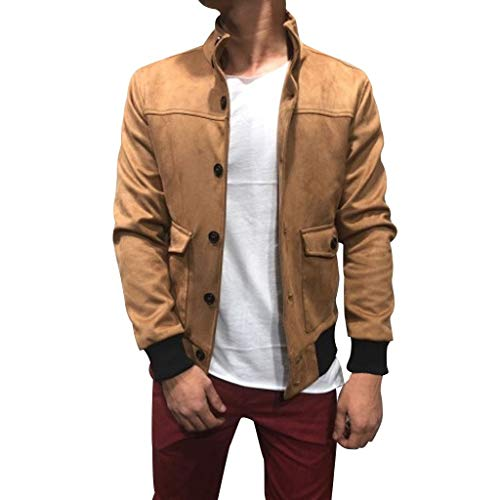 Beautyfine Men's Paneled Button Pullover Hooded Long Sleeve Sweatshirt Jacket Coat Khaki