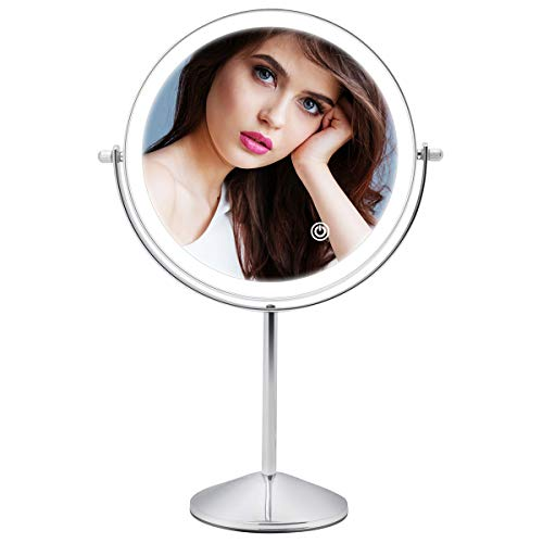 8 Inch Rechargeable Lighted Makeup Mirror, Double Sided Makeup Vanity Mirror with 3 Colors Lighting, 10X Magnifying Mirror, Touch Sensor Dimming, Tabletop Round Cosmetic Light Up Mirror (Chrome)