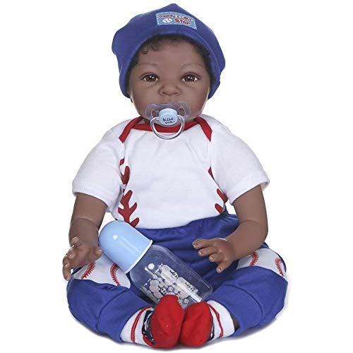 Zero Pam Black Reborn Dolls Boy - Girl 22 inch Reborn Toddler Dolls Biracial African American Baby Dolls Weighted Body Soft Silicone Baby Doll Toy (One Boy)
