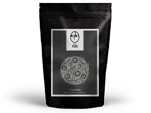 KAFFEE PURA Harar Longberry Espresso, biologisch angebaut und fair gehandelt (1000g ganze Bohnen)