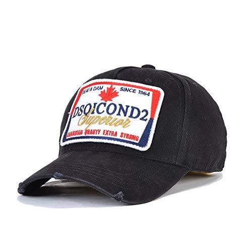 Crstal Gorra De Béisbol De Algodón para Hombres Y Mujeres, Hip Hop Dsq Hat De Camionero, Ajustable De 57-59 Cm(Color:Negro)