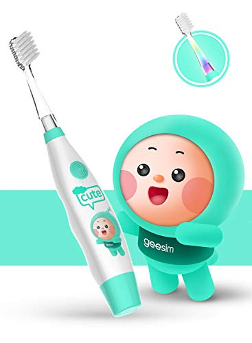 kids& Baby Toothbrush Electric Sonic Battery Powered With Smart Timer and Colorful LED, Baby &kids Electric Toothbrushes—Baby Sonic Toothbtush(BLUE) (Blue)