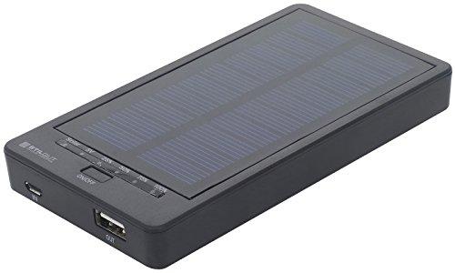 StilGut Solar Powerbank, Solar-Ladegerät für Handys, tragbarer Akku für alle gängigen Smartphones | leichtes und dünnes Solar Ladegerät 5000 mAh, Schwarz