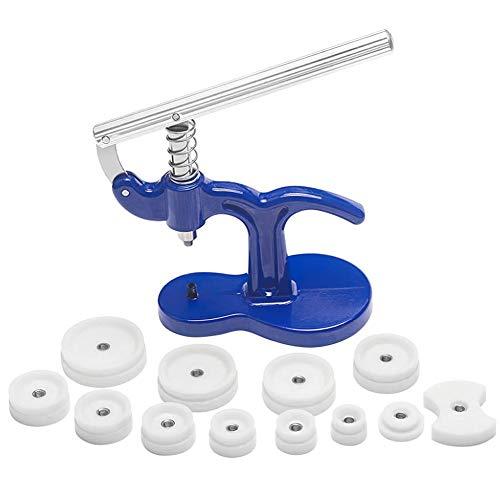 shentaotao 12pcs Dies Golpe De Cristal Herramienta De Ajuste De Reparación Relojero Kit De Reloj Pulse Set De Nuevo Caso De Plástico Azul Más Cerca