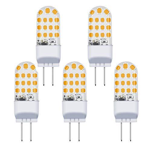 G6.35 LED Lampe 3.5W 12V Warmweiß 3000K Leuchtmittel 2 Stiften 360° Abstrahlwinkel JC Typ 35W Glühbirne Ersatz LED G6.35/GY6.35(5 Stück, Nicht Dimmbar)