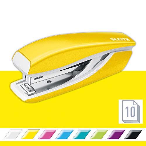 Leitz Mini nietmachine, 10 vellen inhoud, ergonomisch metalen lichaam, inclusief nietjes, WOW bereik, 55281016 - geel