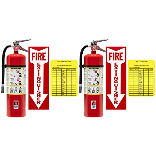 (Lot of 2) Victory 10 Lb. Type ABC Dry Chemical Fire Extinguishers with 2 - Wall Hooks, 2 - Signs and 2 - Inspection Tags