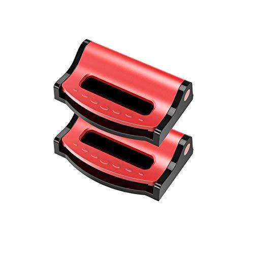 IUFINUEN 2pcs / Set Universal de Coches Cinturones de Seguridad Clips de Seguridad Ajustable Clip Auto tapón Hebilla de plástico de 4 Colores for el Interior del Coche Accesorios (Color : Red)
