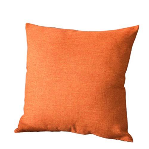 Dontdo - Funda de almohada de lino suave para sofá, cama o coche, 45 x 45 cm 55*55cm naranja